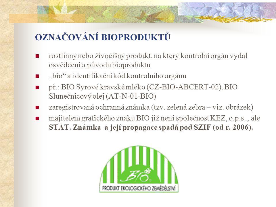 """OZNAČOVÁNÍ BIOPRODUKTŮ  rostlinný nebo živočišný produkt, na který kontrolní orgán vydal osvědčení o původu bioproduktu  """"bio"""" a identifikační kód k"""