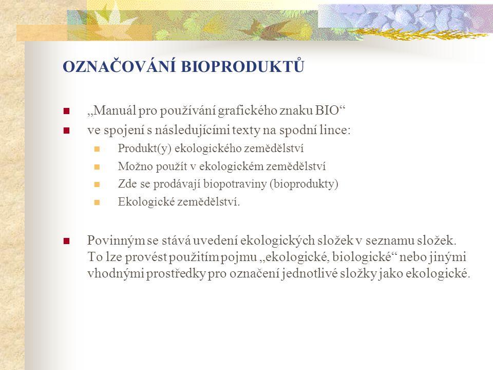 """OZNAČOVÁNÍ BIOPRODUKTŮ  """"Manuál pro používání grafického znaku BIO""""  ve spojení s následujícími texty na spodní lince:  Produkt(y) ekologického zem"""