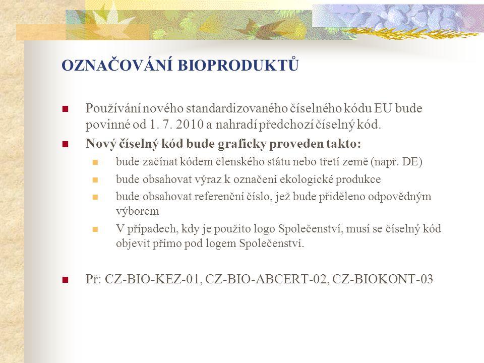 OZNAČOVÁNÍ BIOPRODUKTŮ  Používání nového standardizovaného číselného kódu EU bude povinné od 1. 7. 2010 a nahradí předchozí číselný kód.  Nový čísel