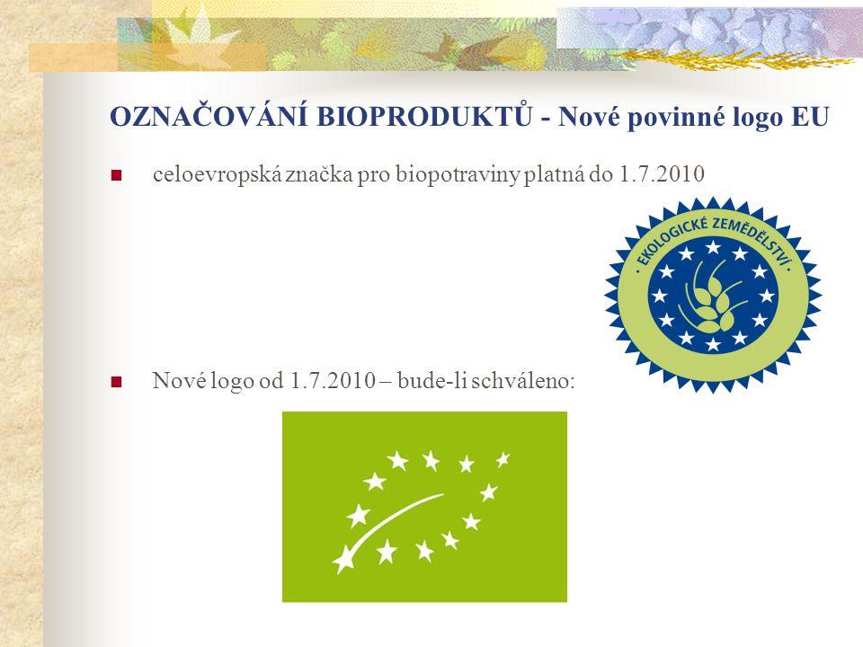OZNAČOVÁNÍ BIOPRODUKTŮ - Nové povinné logo EU  celoevropská značka pro biopotraviny platná do 1.7.2010  Nové logo od 1.7.2010 – bude-li schváleno: