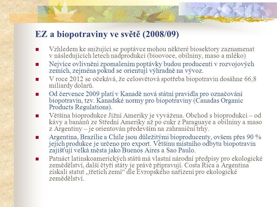 EZ a biopotraviny ve světě (2008/09)  Vzhledem ke snižující se poptávce mohou některé biosektory zaznamenat v následujících letech nadprodukci (bioov
