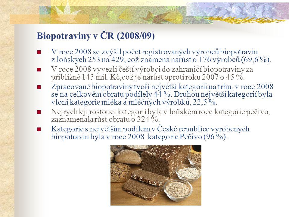 Biopotraviny v ČR (2008/09)  V roce 2008 se zvýšil počet registrovaných výrobců biopotravin z loňských 253 na 429, což znamená nárůst o 176 výrobců (