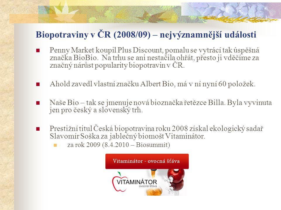 Biopotraviny v ČR (2008/09) – nejvýznamnější události  Penny Market koupil Plus Discount, pomalu se vytrácí tak úspěšná značka BioBio. Na trhu se ani