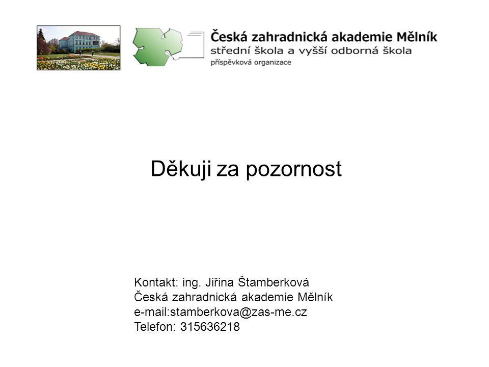 Děkuji za pozornost Kontakt: ing. Jiřina Štamberková Česká zahradnická akademie Mělník e-mail:stamberkova@zas-me.cz Telefon: 315636218