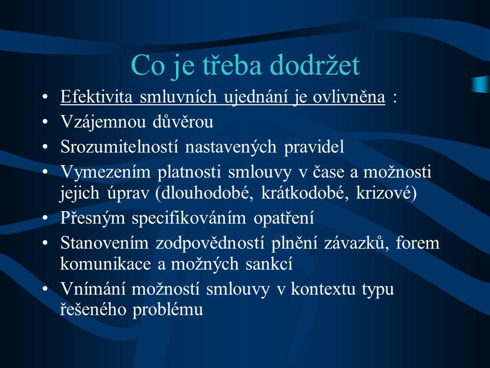 Co je třeba dodržet •Efektivita smluvních ujednání je ovlivněna : •Vzájemnou důvěrou •Srozumitelností nastavených pravidel •Vymezením platnosti smlouv