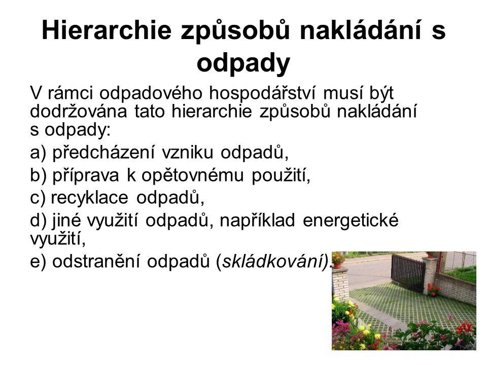Hierarchie způsobů nakládání s odpady V rámci odpadového hospodářství musí být dodržována tato hierarchie způsobů nakládání s odpady: a) předcházení v