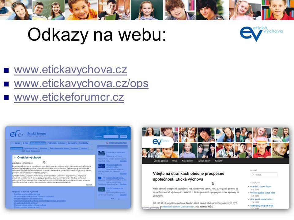 í  www.etickavychova.cz www.etickavychova.cz  www.etickavychova.cz/ops www.etickavychova.cz/ops  www.etickeforumcr.cz www.etickeforumcr.cz Odkazy n