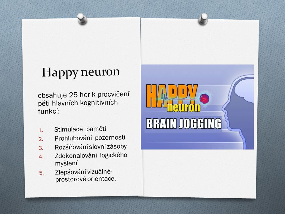 Happy neuron obsahuje 25 her k procvi č ení p ě ti hlavních kognitivních funkcí: 1. Stimulace pam ě ti 2. Prohlubování pozornosti 3. Rozši ř ování slo