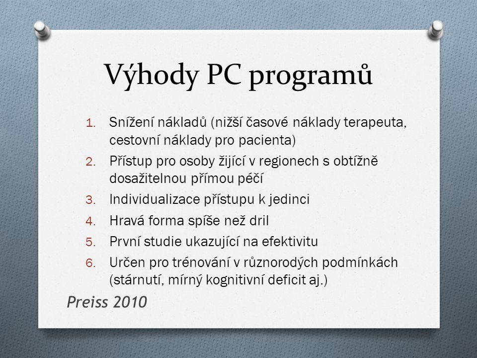 Výhody PC programů 1. Snížení nákladů (nižší časové náklady terapeuta, cestovní náklady pro pacienta) 2. Přístup pro osoby žijící v regionech s obtížn