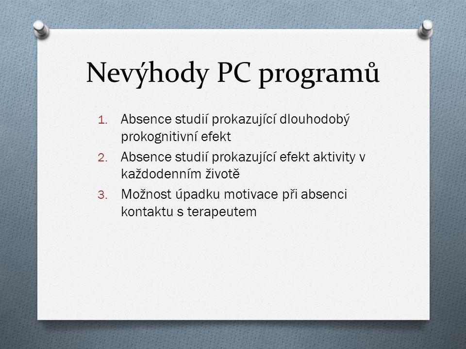 Nevýhody PC programů 1. Absence studií prokazující dlouhodobý prokognitivní efekt 2. Absence studií prokazující efekt aktivity v každodenním životě 3.