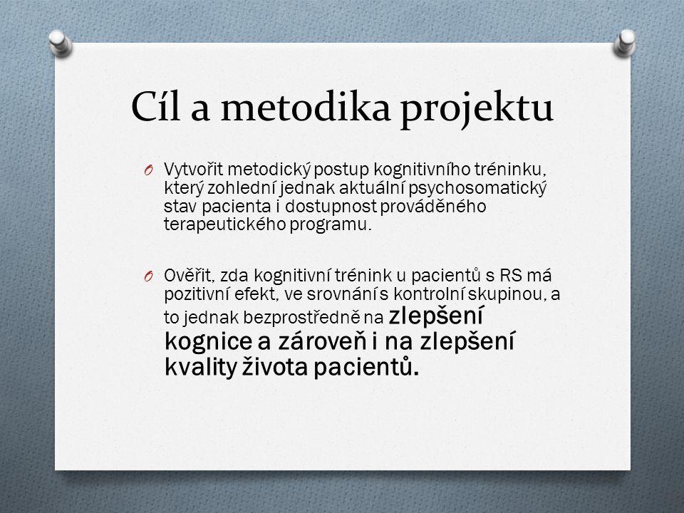 Cíl a metodika projektu O Vytvořit metodický postup kognitivního tréninku, který zohlední jednak aktuální psychosomatický stav pacienta i dostupnost p