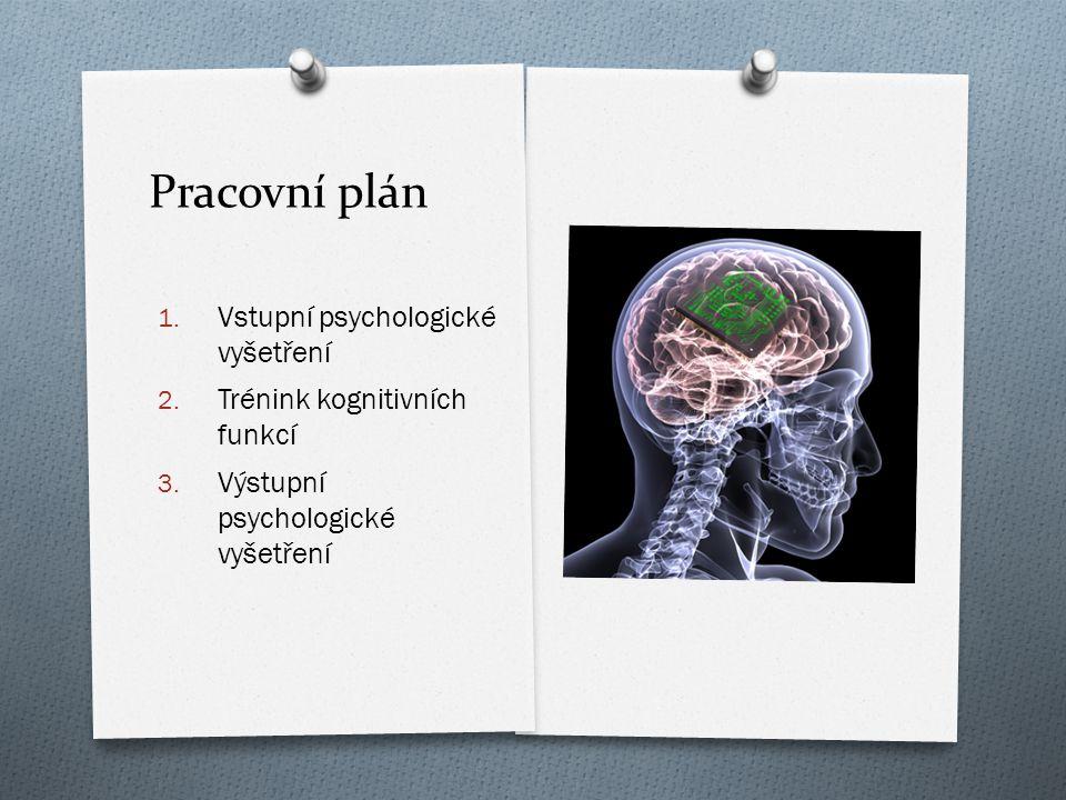 Pracovní plán 1. Vstupní psychologické vyšet ř ení 2. Trénink kognitivních funkcí 3. Výstupní psychologické vyšet ř ení