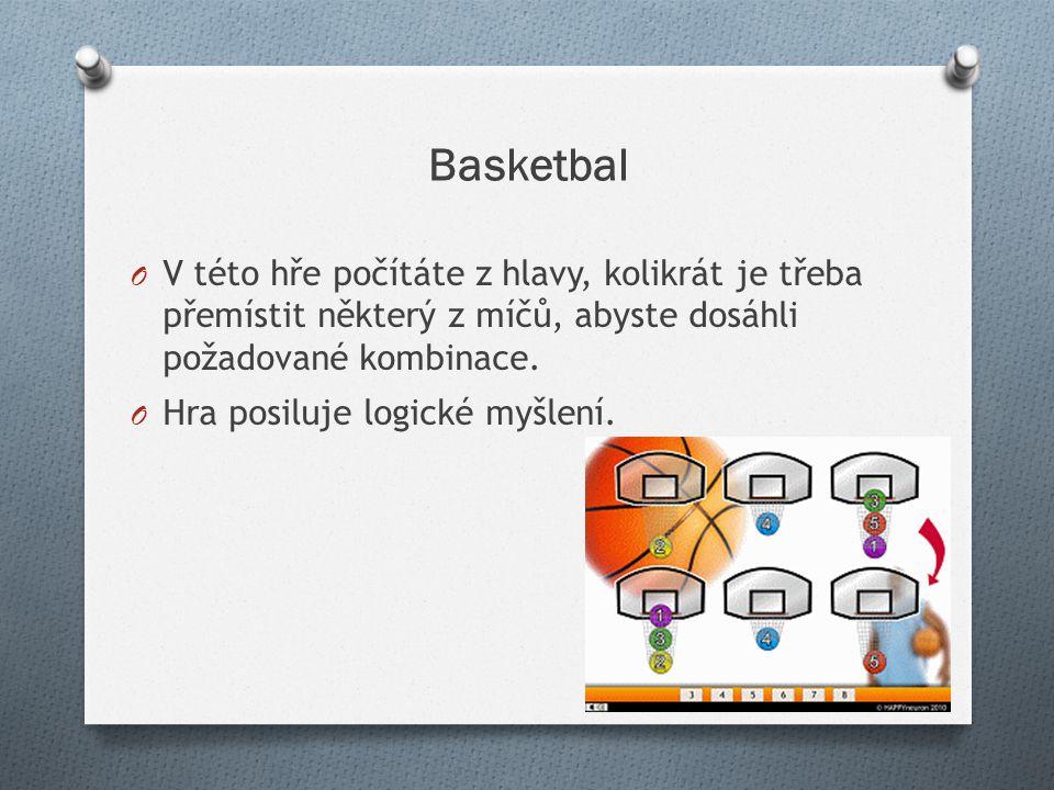 Basketbal O V této hře počítáte z hlavy, kolikrát je třeba přemístit některý z míčů, abyste dosáhli požadované kombinace. O Hra posiluje logické myšle