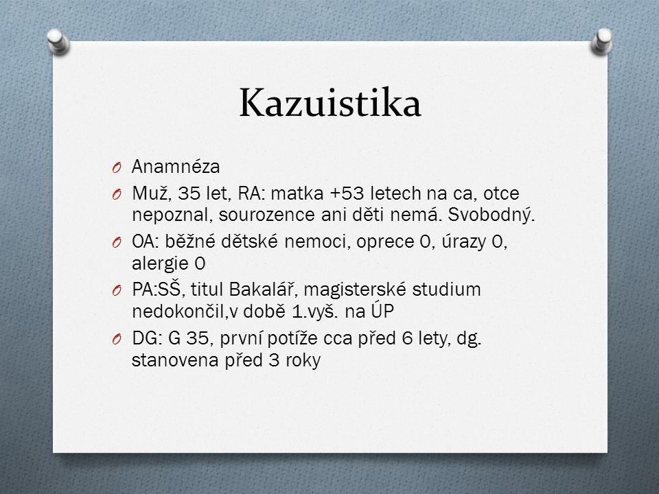 Kazuistika O Anamnéza O Muž, 35 let, RA: matka +53 letech na ca, otce nepoznal, sourozence ani děti nemá. Svobodný. O OA: běžné dětské nemoci, oprece