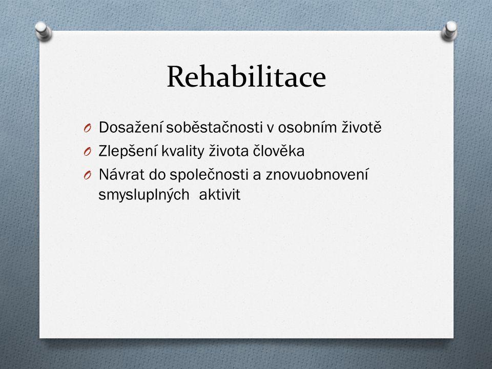 Rehabilitace O Dosažení soběstačnosti v osobním životě O Zlepšení kvality života člověka O Návrat do společnosti a znovuobnovení smysluplných aktivit