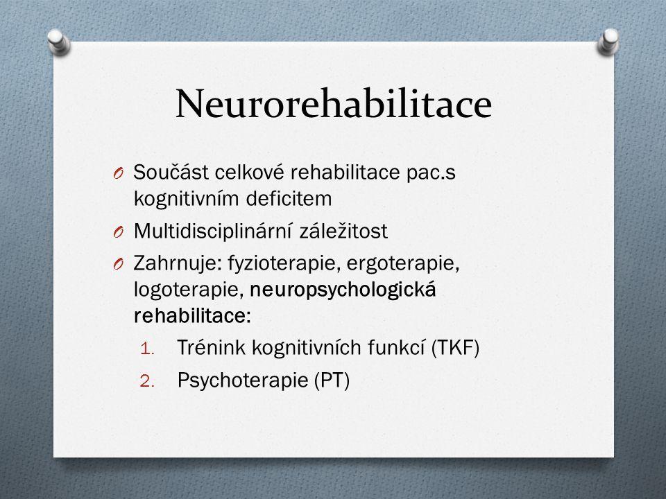 Neurorehabilitace O Součást celkové rehabilitace pac.s kognitivním deficitem O Multidisciplinární záležitost O Zahrnuje: fyzioterapie, ergoterapie, lo
