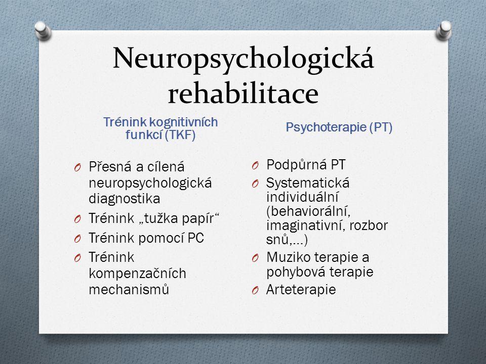 """Neuropsychologická rehabilitace Trénink kognitivních funkcí (TKF) Psychoterapie (PT) O Přesná a cílená neuropsychologická diagnostika O Trénink """"tužka"""