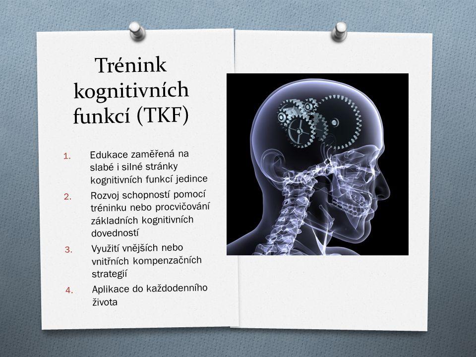 Trénink kognitivních funkcí (TKF) 1. Edukace zam ěř ená na slabé i silné stránky kognitivních funkcí jedince 2. Rozvoj schopností pomocí tréninku nebo