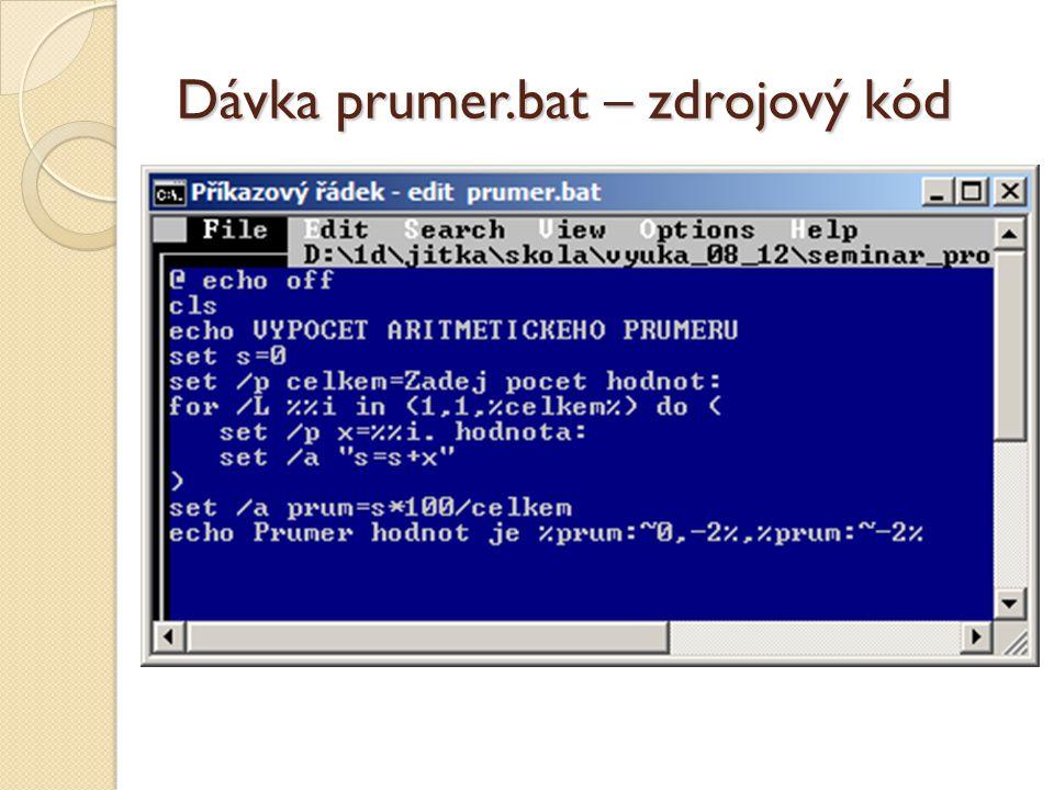 Dávka prumer.bat – zdrojový kód