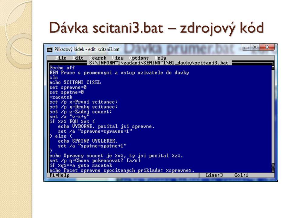 Dávka scitani3.bat – zdrojový kód