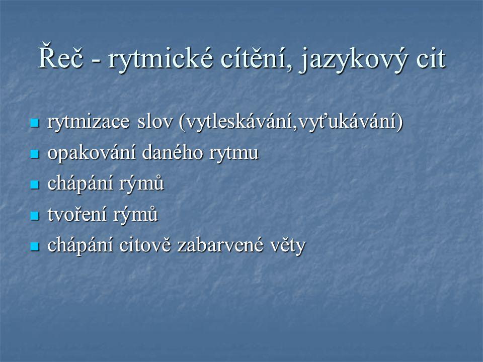 Řeč - rytmické cítění, jazykový cit  rytmizace slov (vytleskávání,vyťukávání)  opakování daného rytmu  chápání rýmů  tvoření rýmů  chápání citově zabarvené věty