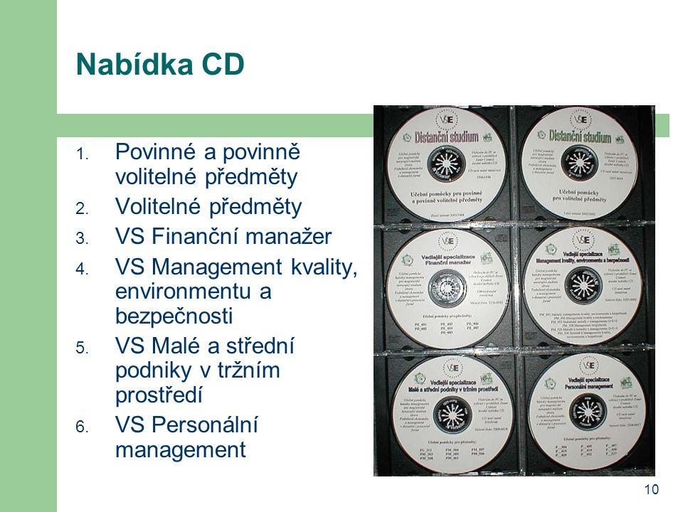 10 Nabídka CD 1. Povinné a povinně volitelné předměty 2. Volitelné předměty 3. VS Finanční manažer 4. VS Management kvality, environmentu a bezpečnost