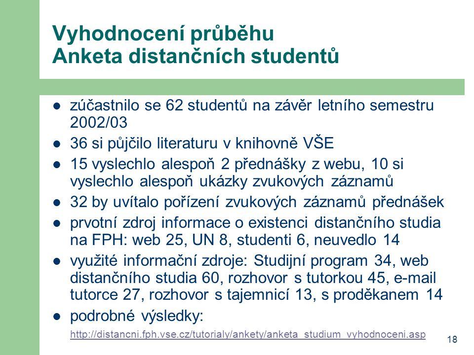 18 Vyhodnocení průběhu Anketa distančních studentů  zúčastnilo se 62 studentů na závěr letního semestru 2002/03  36 si půjčilo literaturu v knihovně