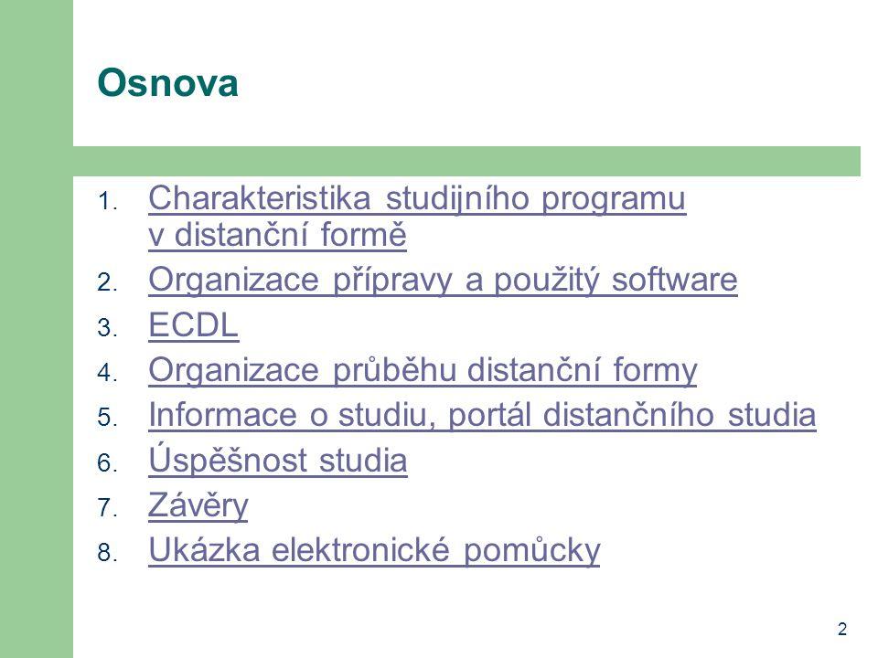 2 Osnova 1. Charakteristika studijního programu v distanční formě Charakteristika studijního programu v distanční formě 2. Organizace přípravy a použi