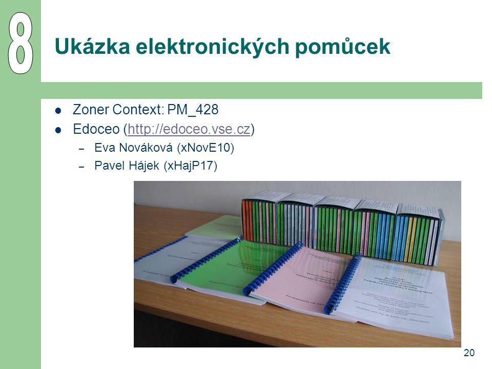 20 Ukázka elektronických pomůcek  Zoner Context: PM_428  Edoceo (http://edoceo.vse.cz)http://edoceo.vse.cz – Eva Nováková (xNovE10) – Pavel Hájek (x