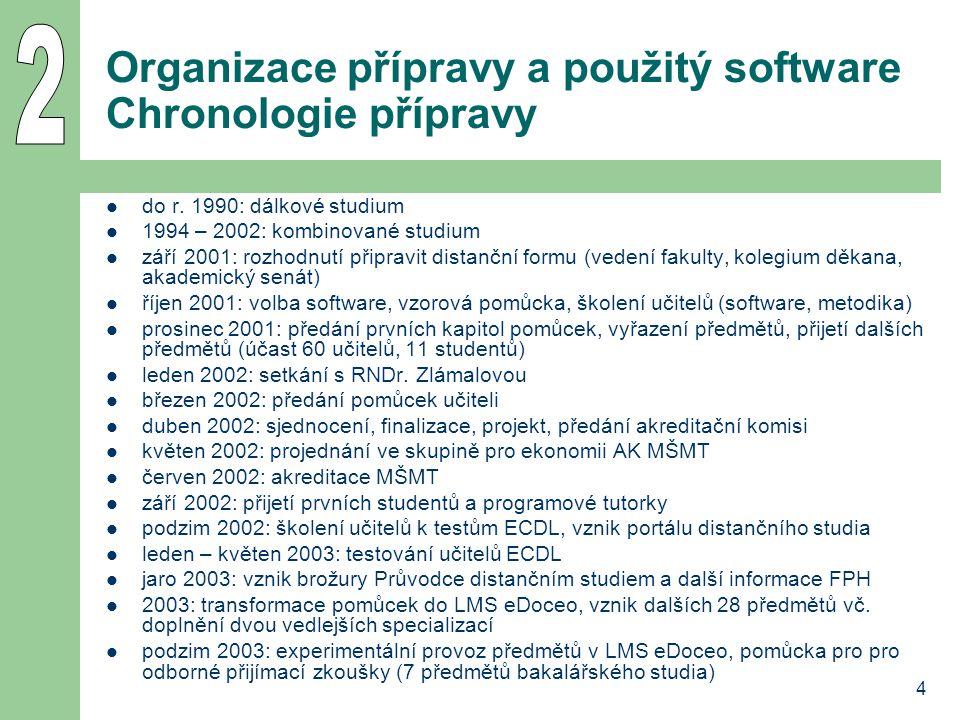 4 Organizace přípravy a použitý software Chronologie přípravy  do r. 1990: dálkové studium  1994 – 2002: kombinované studium  září 2001: rozhodnutí