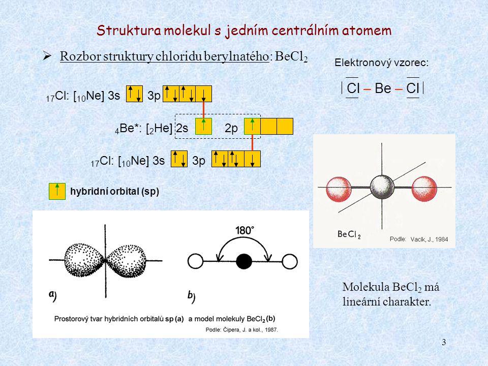 3 Struktura molekul s jedním centrálním atomem  Rozbor struktury chloridu berylnatého: BeCl 2 Elektronový vzorec: Cl – Be – Cl 4 Be*: [ 2 He] 2s2p 17 Cl: [ 10 Ne] 3s3p 17 Cl: [ 10 Ne] 3s Molekula BeCl 2 má lineární charakter.