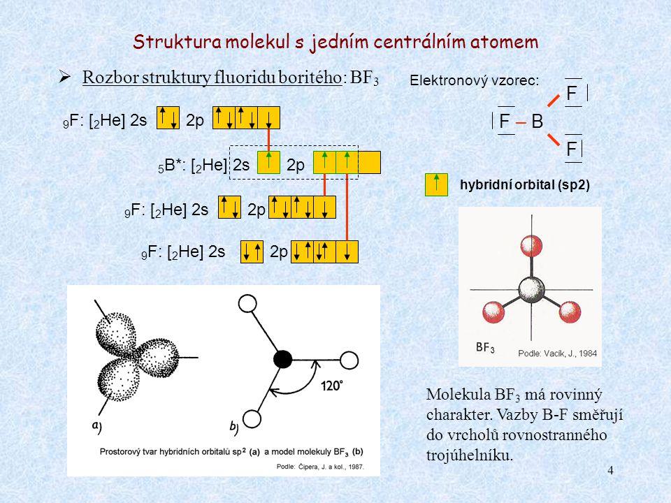 4 Struktura molekul s jedním centrálním atomem  Rozbor struktury fluoridu boritého: BF 3 Elektronový vzorec: F – B 5 B*: [ 2 He] 2s2p 9 F: [ 2 He] 2s2p 9 F: [ 2 He] 2s Molekula BF 3 má rovinný charakter.