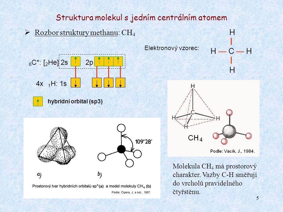 5 Struktura molekul s jedním centrálním atomem  Rozbor struktury methanu: CH 4 Elektronový vzorec: H — C — H 6 C*: [ 2 He] 2s2p 4x 1 H: 1s Molekula CH 4 má prostorový charakter.