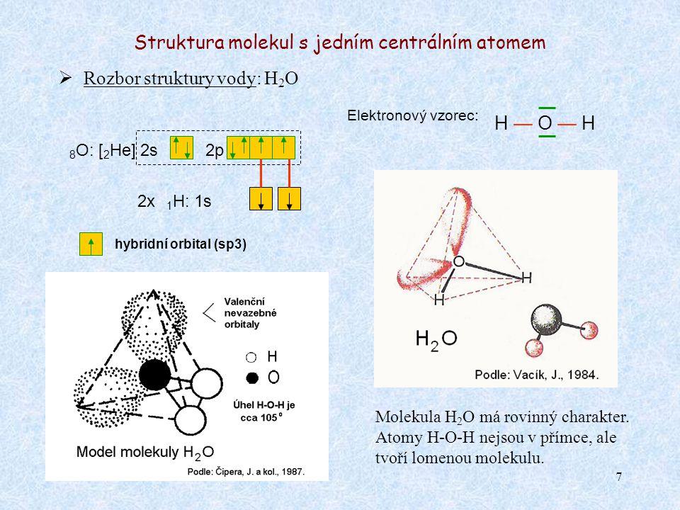 8 Struktura molekul s jedním centrálním atomem  Rozbor struktury fluoridu fosforečného: PF 5 Elektronový vzorec: F — P — F 15 P*: [ 10 Ne] 3s3p Molekula PF 5 má prostorové uspořádání.