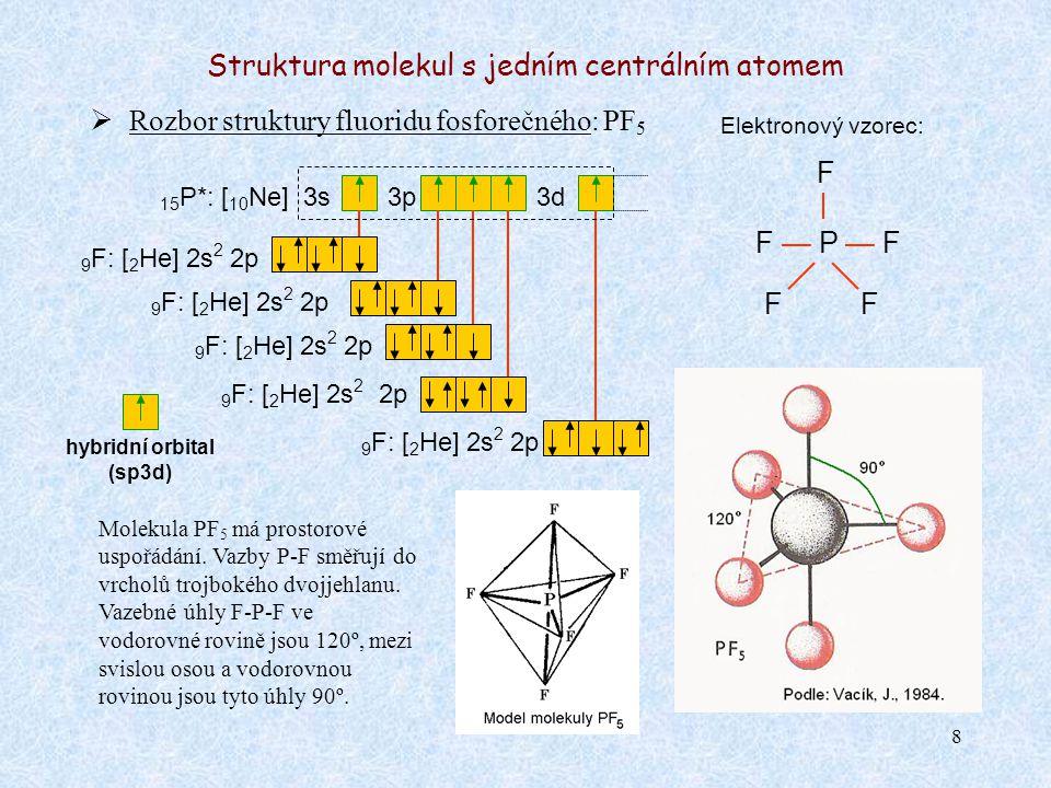 8 Struktura molekul s jedním centrálním atomem  Rozbor struktury fluoridu fosforečného: PF 5 Elektronový vzorec: F — P — F 15 P*: [ 10 Ne] 3s3p Molek
