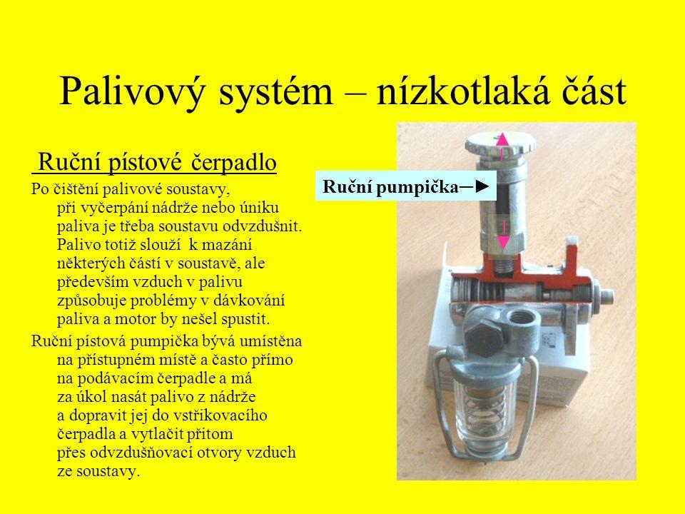 Palivový systém – nízkotlaká část Ruční pístové čerpadlo Po čištění palivové soustavy, při vyčerpání nádrže nebo úniku paliva je třeba soustavu odvzdu