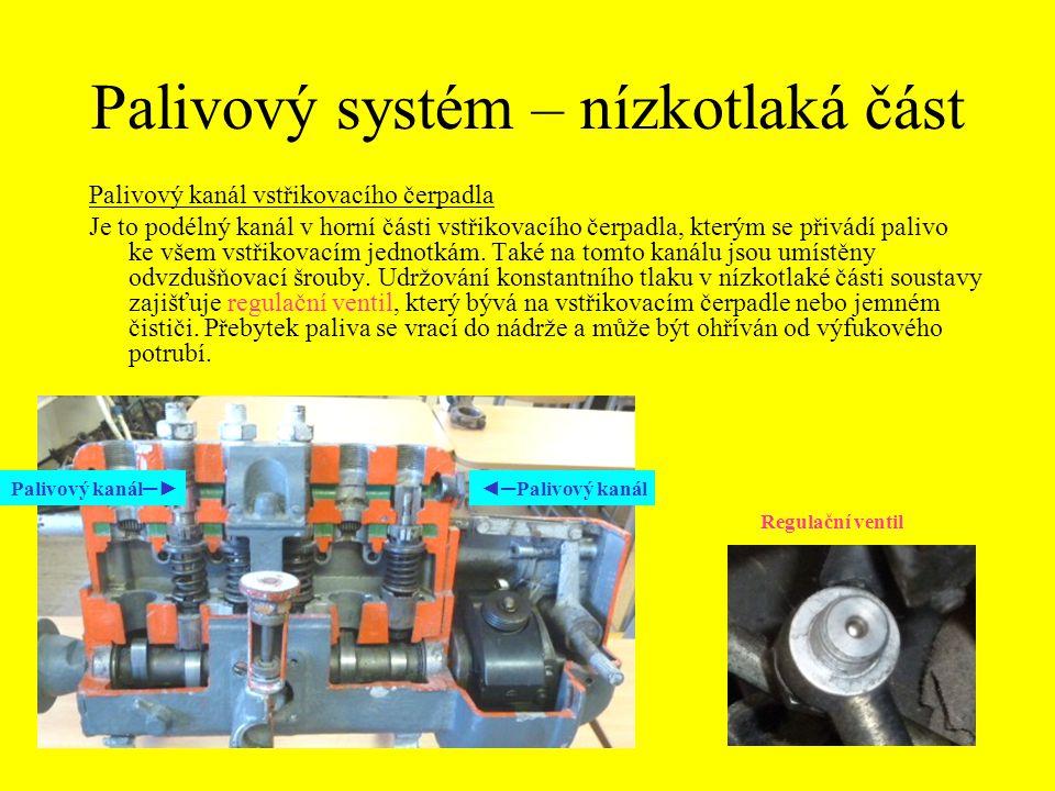 Palivový systém – nízkotlaká část Palivový kanál vstřikovacího čerpadla Je to podélný kanál v horní části vstřikovacího čerpadla, kterým se přivádí pa