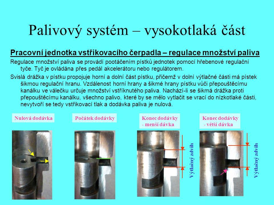 Palivový systém – vysokotlaká část Pracovní jednotka vstřikovacího čerpadla – regulace množství paliva Regulace množství paliva se provádí pootáčením