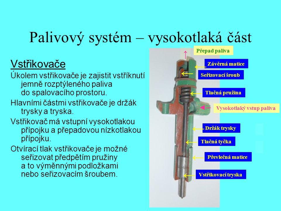 Palivový systém – vysokotlaká část Vstřikovače Úkolem vstřikovače je zajistit vstříknutí jemně rozptýleného paliva do spalovacího prostoru. Hlavními č