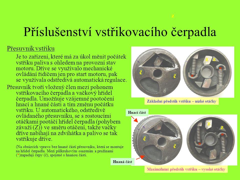 Příslušenství vstřikovacího čerpadla Přesuvník vstřiku Je to zařízení, které má za úkol měnit počátek vstřiku paliva s ohledem na provozní stav motoru