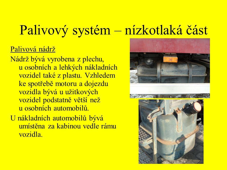 Palivový systém – nízkotlaká část Palivová nádrž Nádrž bývá vyrobena z plechu, u osobních a lehkých nákladních vozidel také z plastu. Vzhledem ke spot
