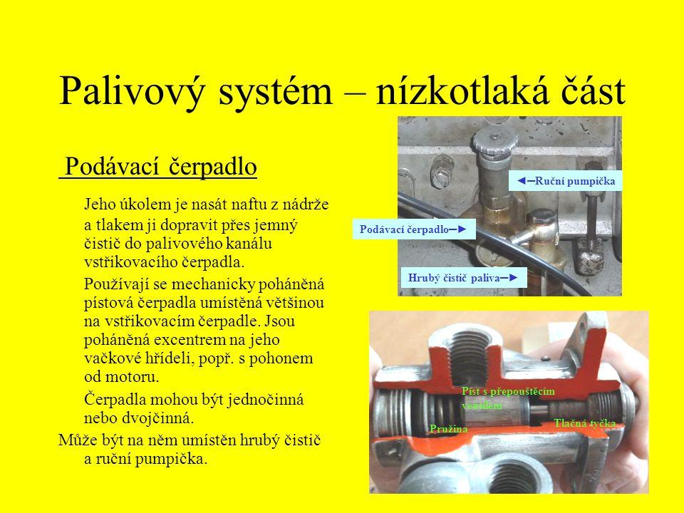 Palivový systém – nízkotlaká část Podávací čerpadlo Jeho úkolem je nasát naftu z nádrže a tlakem ji dopravit přes jemný čistič do palivového kanálu vs