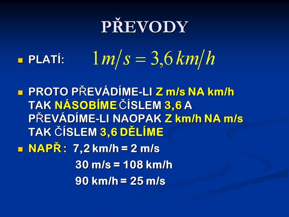 PŘEVODY  PLATÍ:  PROTO P Ř EVÁDÍME-LI Z m/s NA km/h TAK NÁSOBÍME Č ÍSLEM 3,6 A P Ř EVÁDÍME-LI NAOPAK Z km/h NA m/s TAK Č ÍSLEM 3,6 D Ě LÍME  NAP Ř : 7,2 km/h = 2 m/s 30 m/s = 108 km/h 90 km/h = 25 m/s