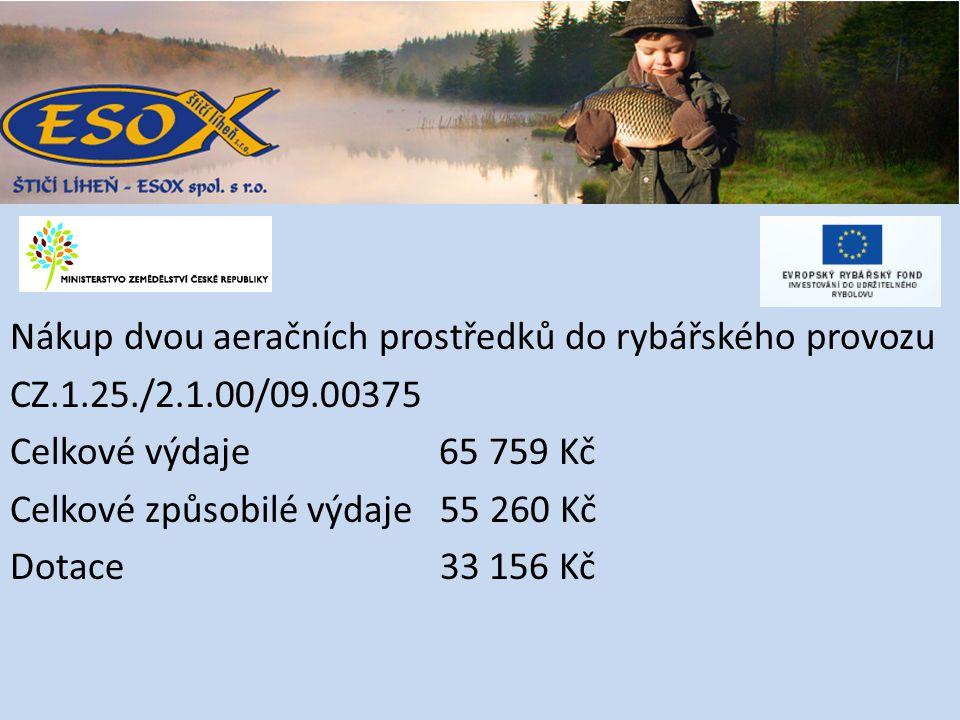Nákup dvou aeračních prostředků do rybářského provozu CZ.1.25./2.1.00/09.00375 Celkové výdaje 65 759 Kč Celkové způsobilé výdaje 55 260 Kč Dotace 33 156 Kč