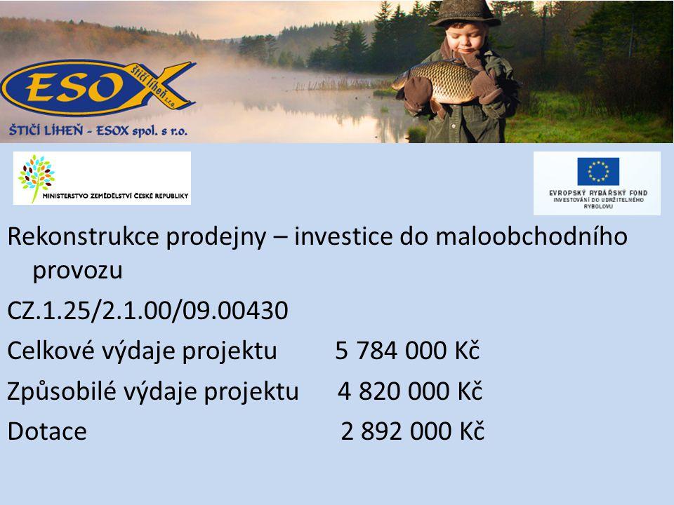 Rekonstrukce prodejny – investice do maloobchodního provozu CZ.1.25/2.1.00/09.00430 Celkové výdaje projektu 5 784 000 Kč Způsobilé výdaje projektu 4 820 000 Kč Dotace 2 892 000 Kč