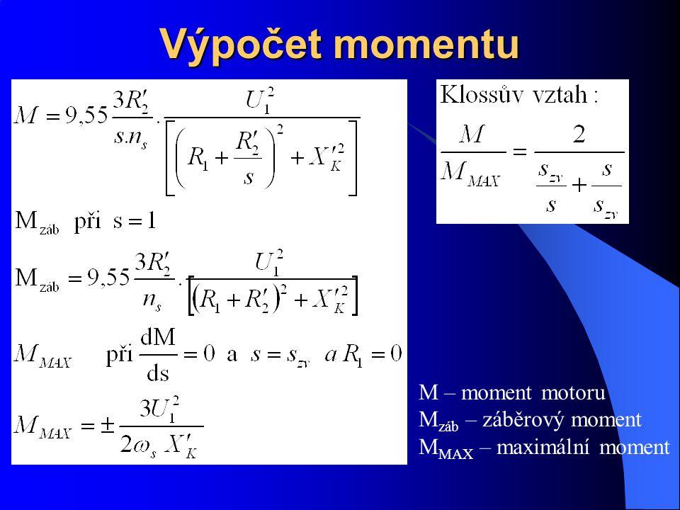 Výpočet momentu M – moment motoru M záb – záběrový moment M MAX – maximální moment
