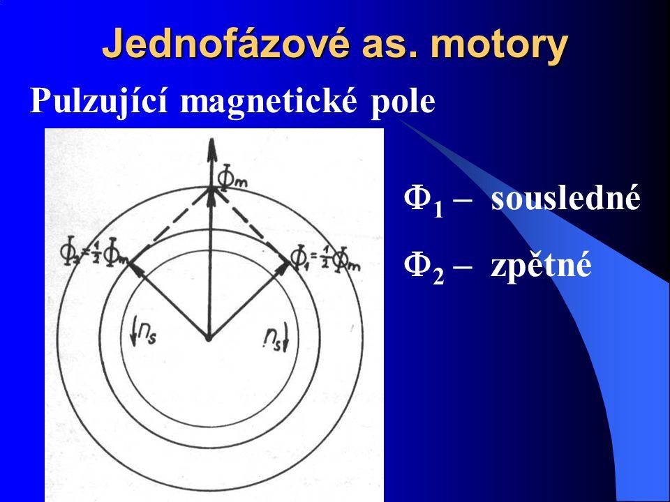 Jednofázové as. motory Pulzující magnetické pole  1 – sousledné  2 – zpětné