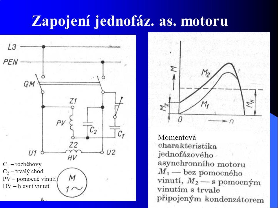 Zapojení jednofáz. as. motoru C 1 – rozběhový C 2 – trvalý chod PV – pomocné vinutí HV – hlavní vinutí Momentová