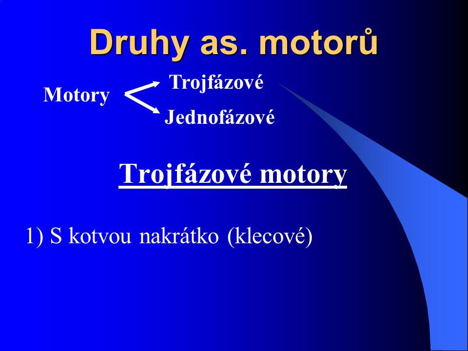 Druhy as. motorů Motory Trojfázové Jednofázové Trojfázové motory 1) S kotvou nakrátko (klecové)