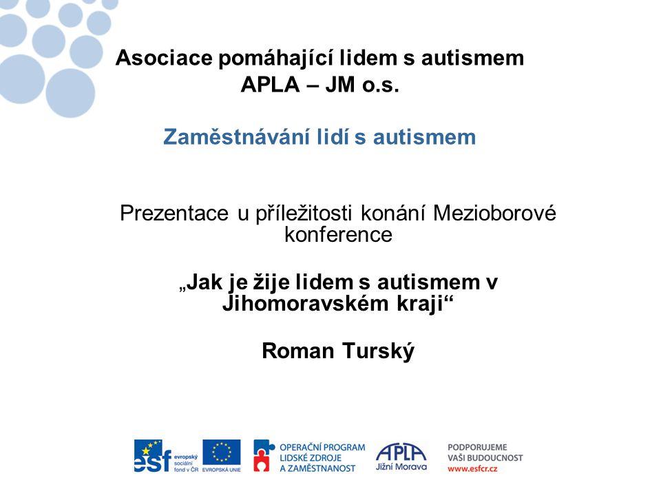 """Asociace pomáhající lidem s autismem APLA – JM o.s. Zaměstnávání lidí s autismem Prezentace u příležitosti konání Mezioborové konference """"Jak je žije"""